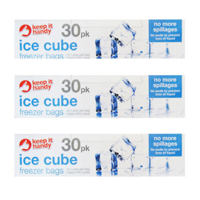 Disposable Ice Cube Bags Clear Fridge Freezer Plastic BBQ Party Cubes Maker Tray (Party Ice Tray)
