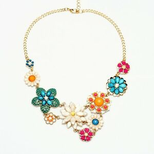N634-Betsey-Johnson-Flower-Crystal-Gem-Wedding-Accessories-Cocktail-Necklace-US
