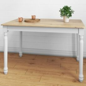 Rhode Island Kitchen Dining Table in White/Natural - 4 Seater