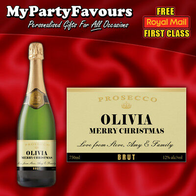 2 x Personalised Prosecco/Champagne Bottle Labels (Gold) - Christmas - Champagne Bottle Labels