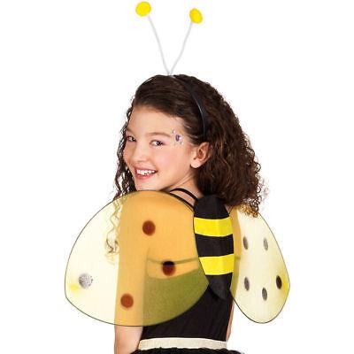 Bienen Kostüm Set für Kinder & Erwachsene mit Flügeln & Haarreif in Schwarz-Gelb