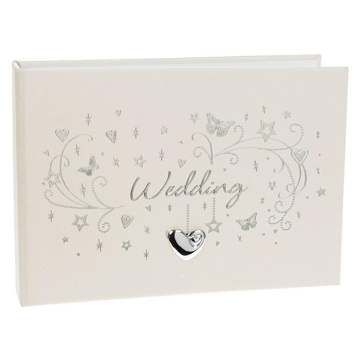 wedding photo album 6x4 u0026quot  with silver heart design 72580
