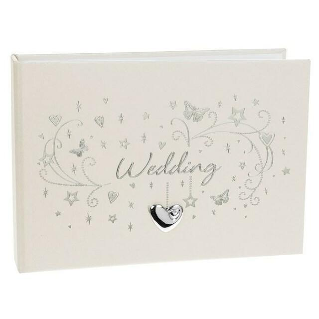 "Wedding Photo Album 6x4"" with silver heart design 72580"