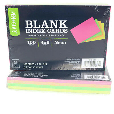 Pen Gear 2 Packs Of 100 Blank Index Cards 4 X 6 Neon Assorted Colors