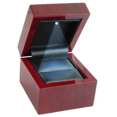 6 New Cherry Wood Led Lighted Ring Jewelry Display Gift Boxes