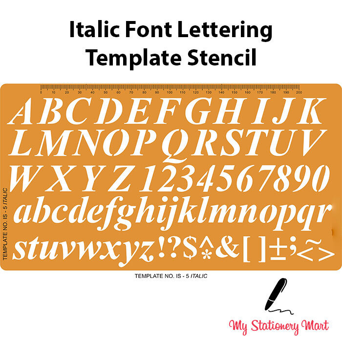 Lettering Stencils Alphabet Number Template Craft Shapes English ITALIC FONT