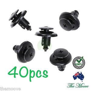 40x 8mm Hole Black Plastic Rivet Interior Trim Panel car door Retainer Clips AU