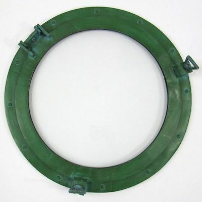 "20"" ROUND ALUMINUM GREEN  FINISH PORTHOLE WITH GLASS-NAUTICAL DECOR"