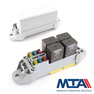4 Way Micro Relay Holder / 6 Mini Fuse Box -Complete with Terminals - MTA Italy