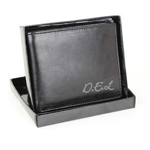 Personalised Black Leather Wallet, Mens, Gents - Personalised Free - Christmas