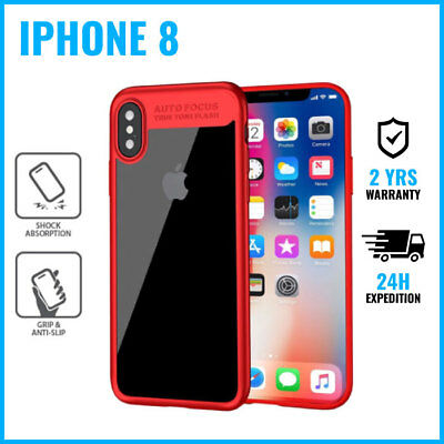 Focus Armor Cover Cas Coque Etui Silicone Hoesje Case Black For iPhone 8 Red