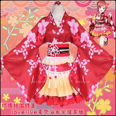 Anime Love Live! Maki Nishikino Cosplay Japanese Kimono Dress Costume Yukata