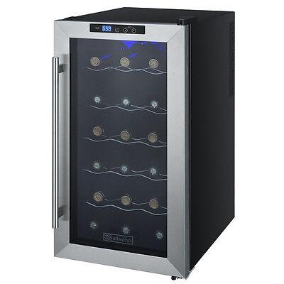 Allavino 18 Bottle Thermoelectric Wine Cooler Refrigerator Stainless Steel Door