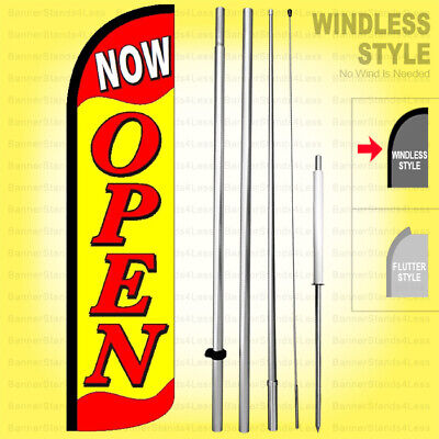 Now Open - Windless Swooper Flag Kit 15 Feather Banner Sign Yf-h