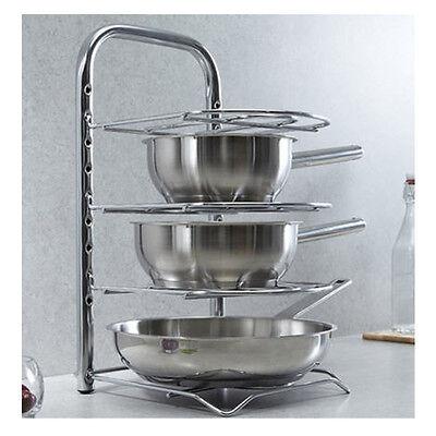 New Stainless Kitchen utensils Frying Pan Rack Storage Dish Shelf