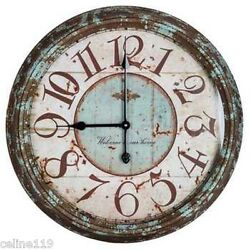 Antique XXL 24'' Large Rusy Turquoise Distressed Metal Wall Clock NEW!!