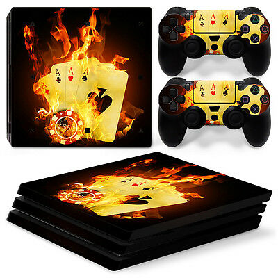 Sony PS4 PlayStation 4 Pro Skin Sticker Screen Protector Set - Burning Cards