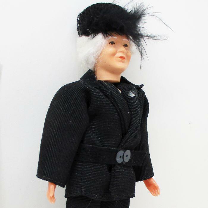 Dressed Granny Lady Doll 1503 Hat Caco Black Suit Flexible Dollhouse Miniature