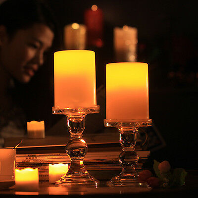 2x Flickering Flameless Resin Pillar LED Candle Lights w/Timer for Wedding Party