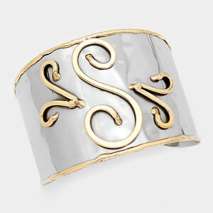 Monogram-Cuff-Bracelet-Initial-Bangle-2-TONE-SILVER-2-034-Wide-Letter-S-Personal