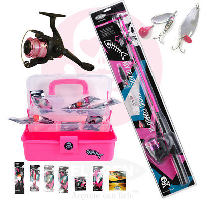 PINK ROD AND REEL SET WITH PINK TACKLE BOX FOR KIDS GIRLS FISHING SET SPINNING