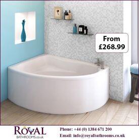 Royal Bathrooms Pilot Back To Wall Single Ended Acrylic Bath & Panel