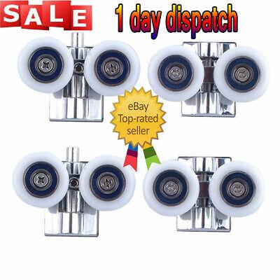 UK 4x Twin Shower Door Wheels Heavy Duty Zinc Alloy Top Bottom Rollers Runners