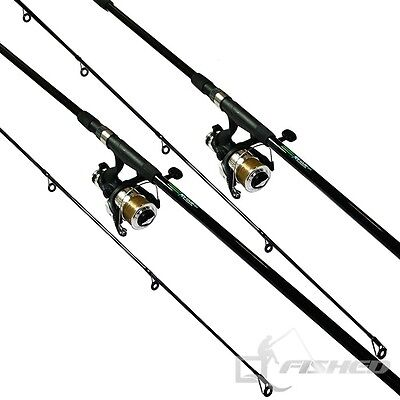 2 x Carp Fishing Rods And Reels. 12ft Fishing Rod With Reel And Line