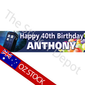 doctor who personalised birthday banner add your name and age ebay