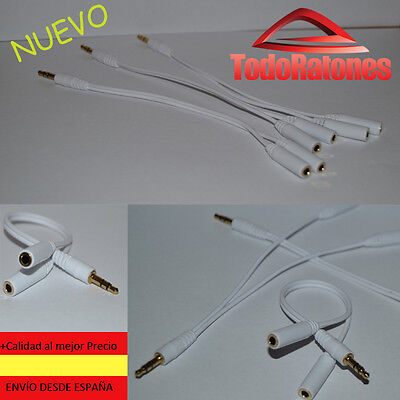 Cable adaptador duplicador Jack Estéreo 3,5mm, divisor de auriculares.Blanco