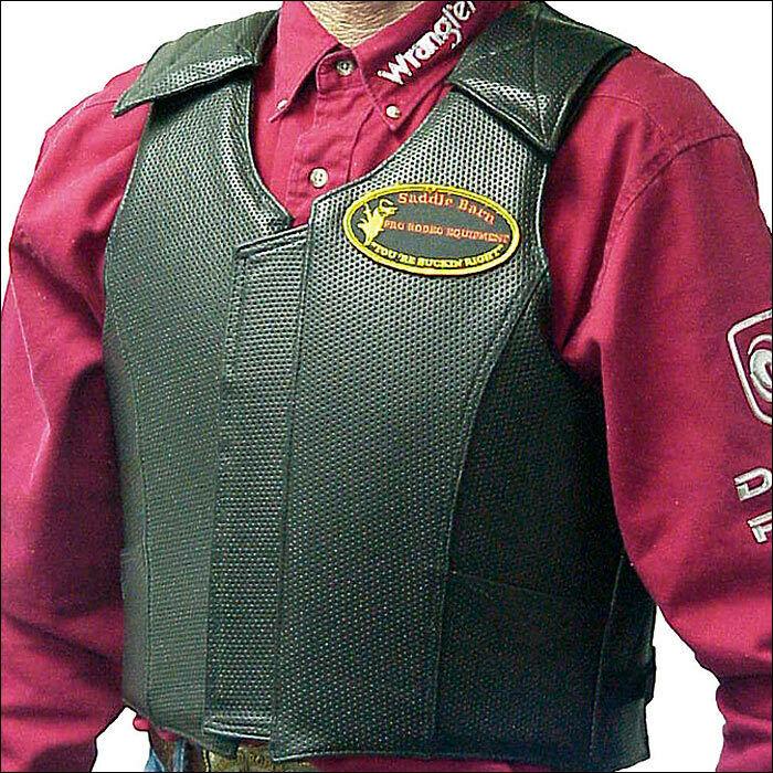 Saddle Barn Black Rough Stock Pro Rodeo Protective Vest W/ Leather Pocket Adult