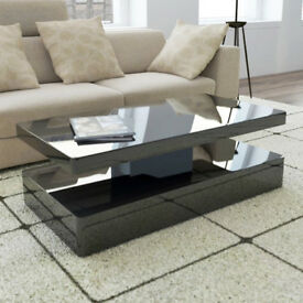 High Gloss Rectangular Coffee Table with LED Lighting