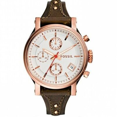 FOSSIL ES3616 Chronograph White Dial Brown Leather Ladies Watch