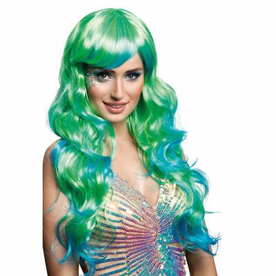 Langhaarperücke Meerjungfrau, blau & grün