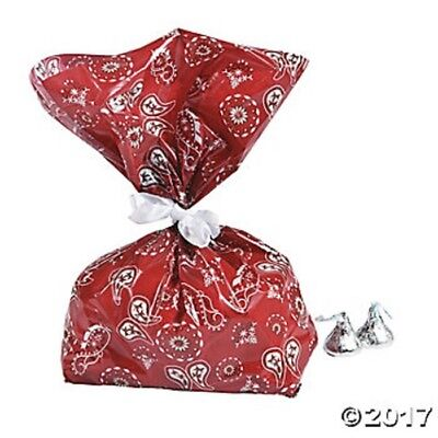 12 Cowboy Western Bandana Cellophane Treat Goody Bags Birthday Party Favors (Red Treat Bags)