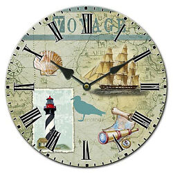 Wall Clock Charting Voyage Map Lighthouse Nautical Decor FREE SHIPPING!