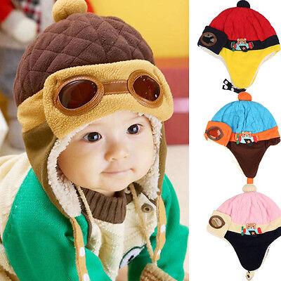 Boys Kids Baby Winter Warm Cap Hat Beanie Pilot Aviator Crochet Earflap Hat - Kids Aviator Hat