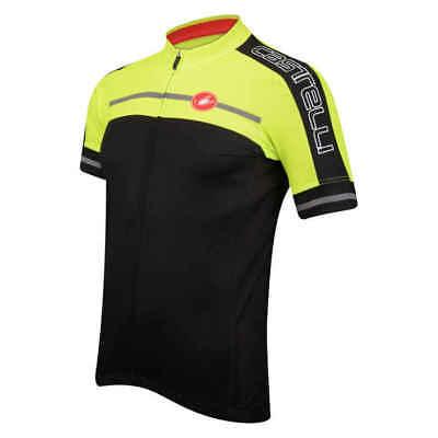 754f27750 CASTELLI Mens Short Sleeve VELOCISSMO PERFORM Bike Jersey BLACK YELLOW  SMALL  99