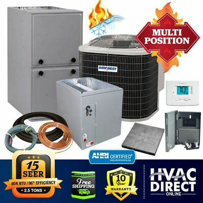 2.5 Ton AirQuest-Heil by Carrier 15 SEER 96% 80k BTU Gas Furnace/AC System w/Kit