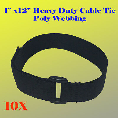 """10X 1"""" x 12"""" Heavy Duty Hook and Loop Fastener Cable Tie Straps Poly Webbing"""