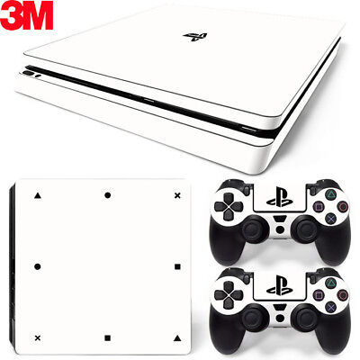 PS4 Slim Playstation 4 Skin Decal Sticker White Classic + 2 Controller...