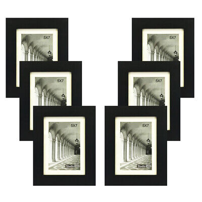Studio 500~Value 6-Pack, 5 by 7-inch Black Smooth Wide Modern Picture (Glasses Frames Ebay)