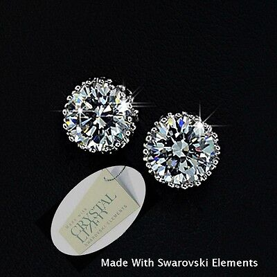 Genuine Swarovski Crystals White Gold Plated Stud Solitaire Earrings New in Box