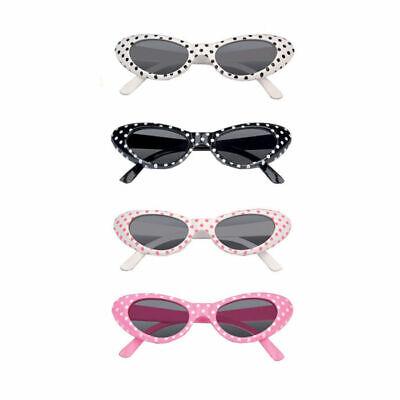 -Jahre Stil mit Punkten in weiß, schwarz, rosa oder Pink (50er Stil Brille)