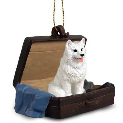 American Eskimo Traveling Companion Dog Figurine In Suit Case Ornament