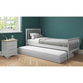 New Oxford Single Guest Bed in Light Grey - Trundle Bed Included
