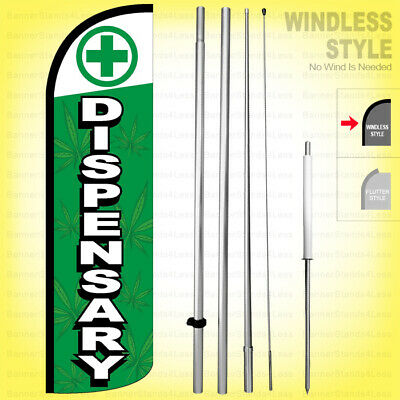 Dispensary - Windless Swooper Flag Kit 15 Feather Banner Sign Gqd99-h