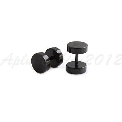 1 Pair 16G Black Surgical Steel Fake Plug Barbell Fake Earring Piercing