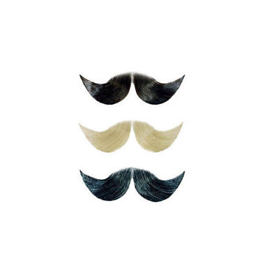 Echthaar Bart Schnurrbart groß, schwarz Fake Bart