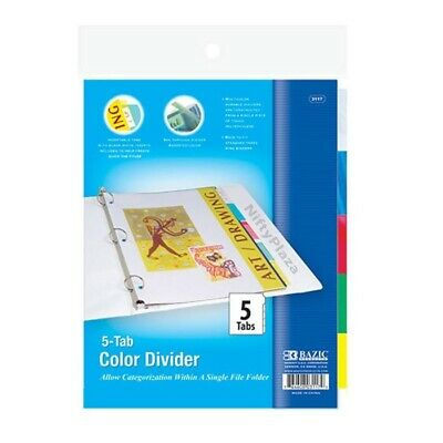3-ring Binder Dividers With 5-insertable Color Tabs Fits In Standard Ring Binder